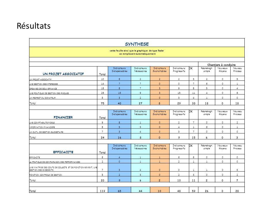 Points forts ( > 50%) Efficacité (100%) Outil de gestion budgétaire (100%) Respect du donateur (88%) Comptabilité fidèle (76%) Gestion désintéressée (57%) Fonction contrôle de gestion (57%) Points faibles (< ou = 50%) Information financière (8%) Maîtrise des coûts de collecte (20%) Politique de gestion des risques (33%) Pratique de comparaison des performances (33%) Projet associatif (40%) Organes de gouvernance (45%) Points forts