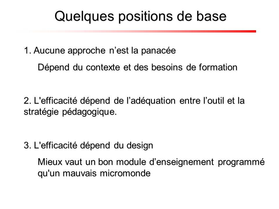 1. Aucune approche nest la panacée Dépend du contexte et des besoins de formation 2. L'efficacité dépend de ladéquation entre loutil et la stratégie p
