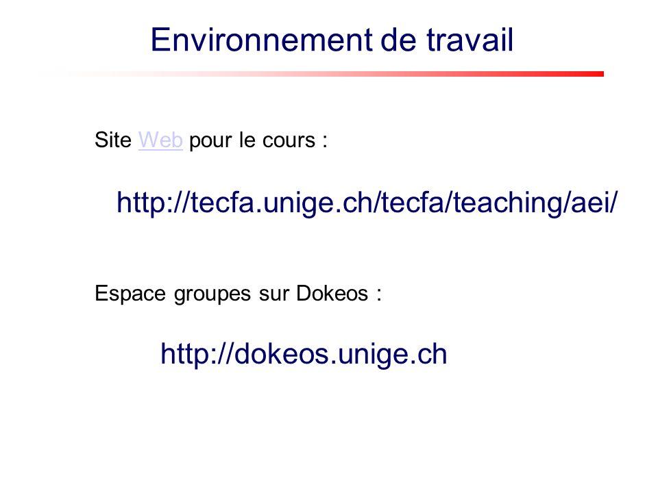 http://tecfa.unige.ch/tecfa/teaching/aei/ Site Web pour le cours :Web http://dokeos.unige.ch Espace groupes sur Dokeos : Environnement de travail