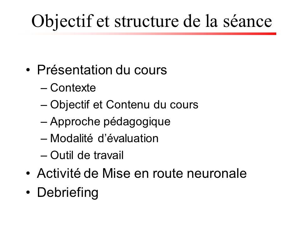 Objectif et structure de la séance Présentation du cours –Contexte –Objectif et Contenu du cours –Approche pédagogique –Modalité dévaluation –Outil de