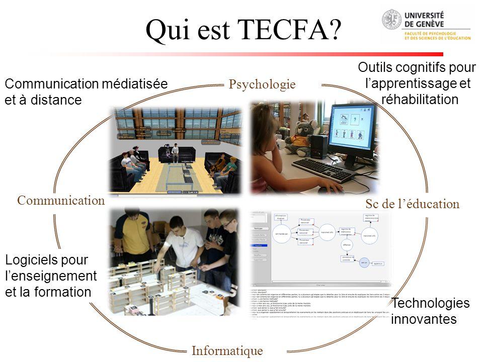 Qui est TECFA? Psychologie Sc de léducation Informatique Logiciels pour lenseignement et la formation Outils cognitifs pour lapprentissage et réhabili
