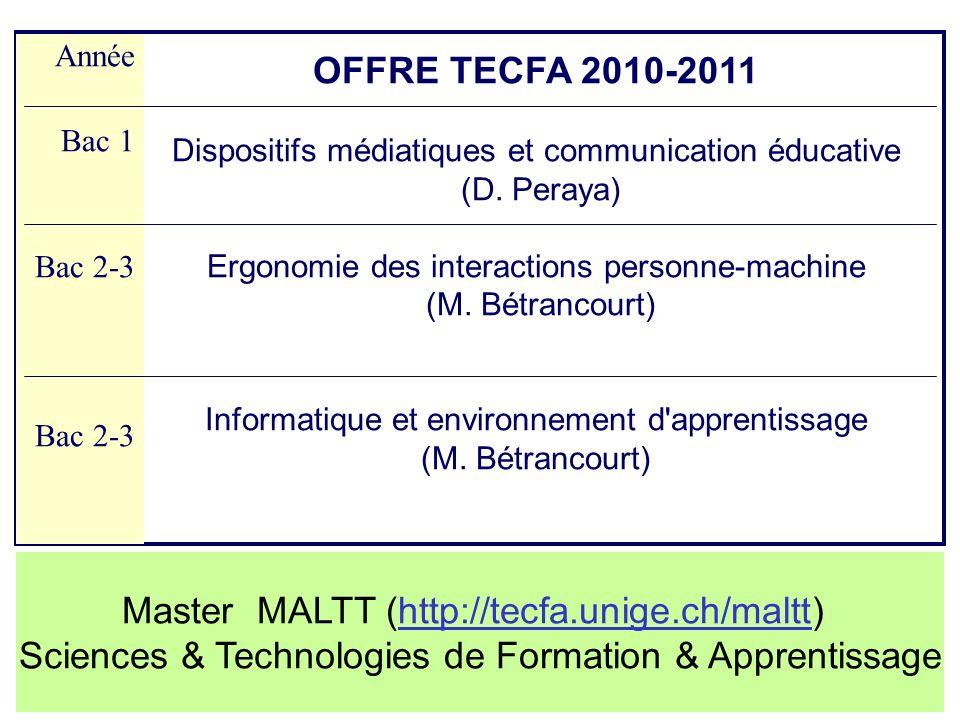 OFFRE TECFA 2010-2011 Dispositifs médiatiques et communication éducative (D. Peraya) Ergonomie des interactions personne-machine (M. Bétrancourt) Info