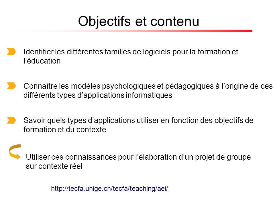 Objectifs et contenu Identifier les différentes familles de logiciels pour la formation et léducation Connaître les modèles psychologiques et pédagogi