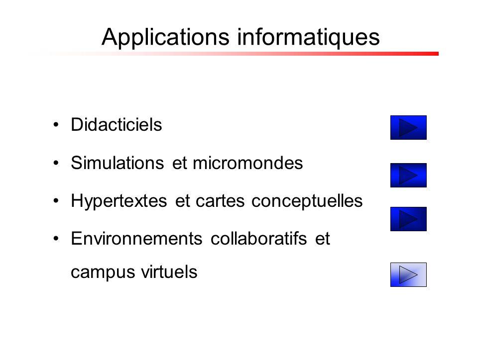 Didacticiels Simulations et micromondes Hypertextes et cartes conceptuelles Environnements collaboratifs et campus virtuels Applications informatiques