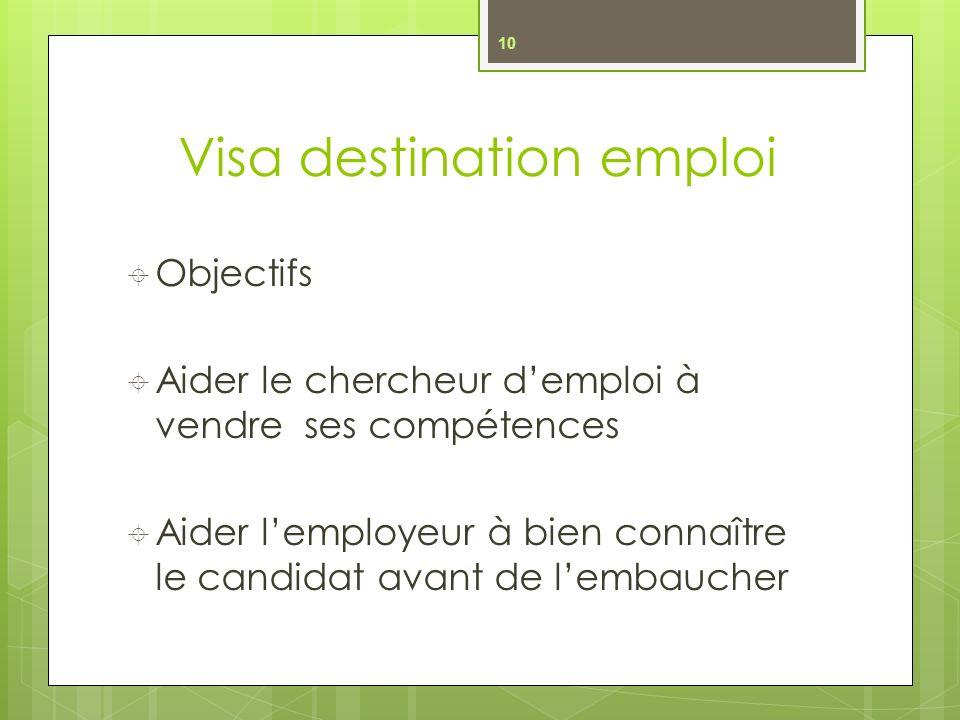 Visa destination emploi Objectifs Aider le chercheur demploi à vendre ses compétences Aider lemployeur à bien connaître le candidat avant de lembaucher 10