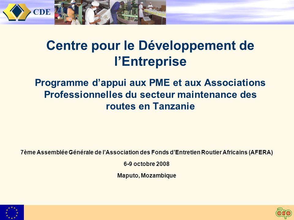 CDE Centre pour le Développement de lEntreprise Programme dappui aux PME et aux Associations Professionnelles du secteur maintenance des routes en Tanzanie 7ème Assemblée Générale de lAssociation des Fonds dEntretien Routier Africains (AFERA) 6-9 octobre 2008 Maputo, Mozambique