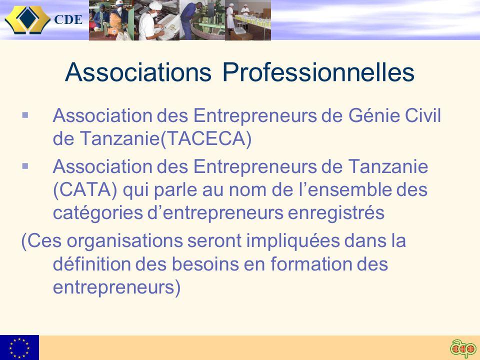 CDE Associations Professionnelles Association des Entrepreneurs de Génie Civil de Tanzanie(TACECA) Association des Entrepreneurs de Tanzanie (CATA) qui parle au nom de lensemble des catégories dentrepreneurs enregistrés (Ces organisations seront impliquées dans la définition des besoins en formation des entrepreneurs)