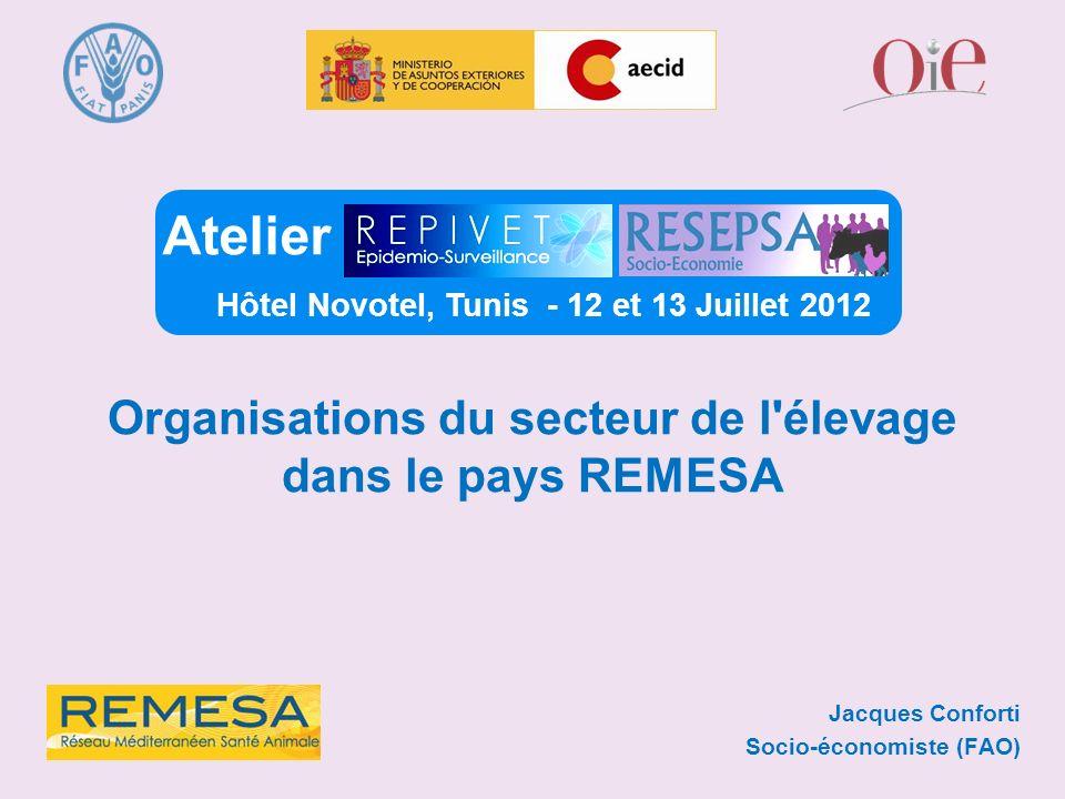 Jacques Conforti Socio-économiste (FAO) Atelier Hôtel Novotel, Tunis - 12 et 13 Juillet 2012 Organisations du secteur de l'élevage dans le pays REMESA