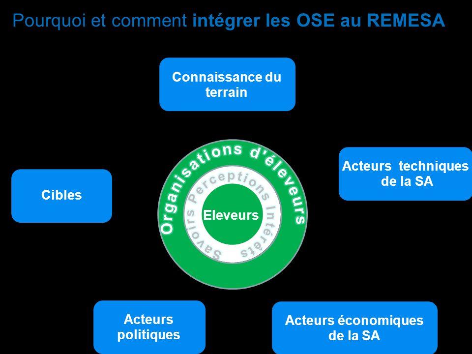 Pourquoi et comment intégrer les OSE au REMESA ? C A Eleveurs Connaissance du terrain Acteurs techniques de la SA Acteurs économiques de la SA Acteurs