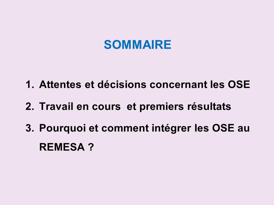 SOMMAIRE 1.Attentes et décisions concernant les OSE 2.Travail en cours et premiers résultats 3.Pourquoi et comment intégrer les OSE au REMESA ?