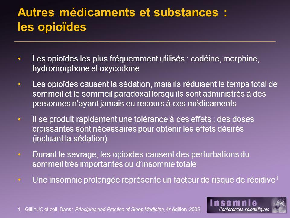 Les opioïdes les plus fréquemment utilisés : codéine, morphine, hydromorphone et oxycodone Les opioïdes causent la sédation, mais ils réduisent le tem