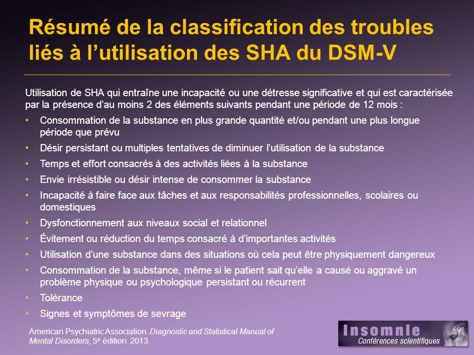 Résumé de la classification des troubles liés à lutilisation des SHA du DSM-V Utilisation de SHA qui entraîne une incapacité ou une détresse significa