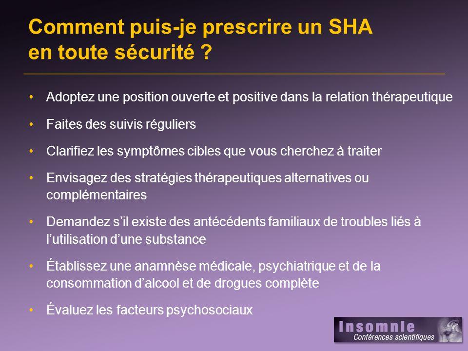 Comment puis-je prescrire un SHA en toute sécurité ? Adoptez une position ouverte et positive dans la relation thérapeutique Faites des suivis régulie