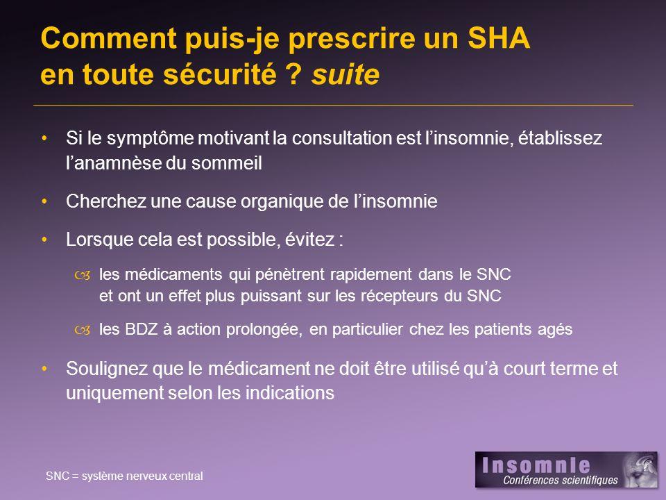 Comment puis-je prescrire un SHA en toute sécurité ? suite Si le symptôme motivant la consultation est linsomnie, établissez lanamnèse du sommeil Cher