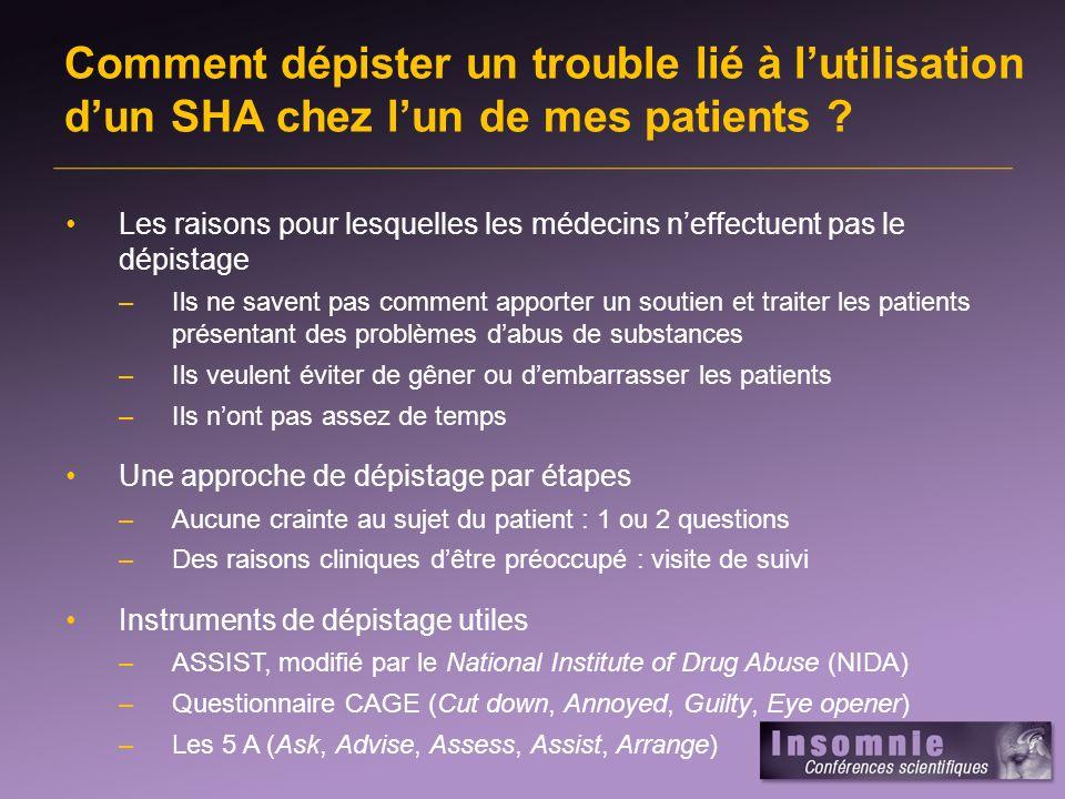 Comment dépister un trouble lié à lutilisation dun SHA chez lun de mes patients ? Les raisons pour lesquelles les médecins neffectuent pas le dépistag