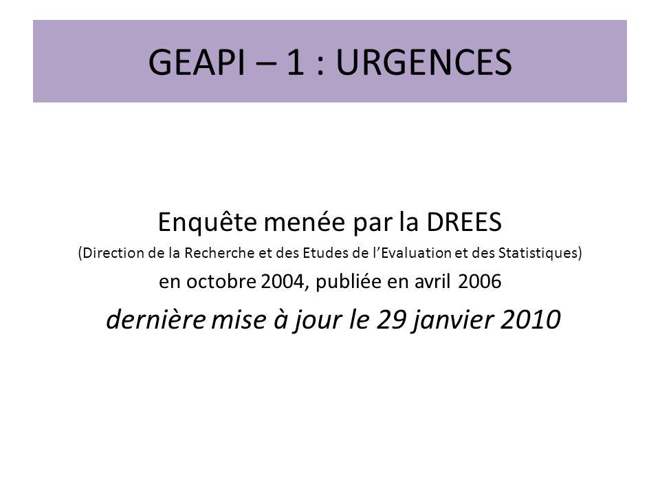 GEAPI – 1 : URGENCES Enquête menée par la DREES (Direction de la Recherche et des Etudes de lEvaluation et des Statistiques) en octobre 2004, publiée en avril 2006 dernière mise à jour le 29 janvier 2010