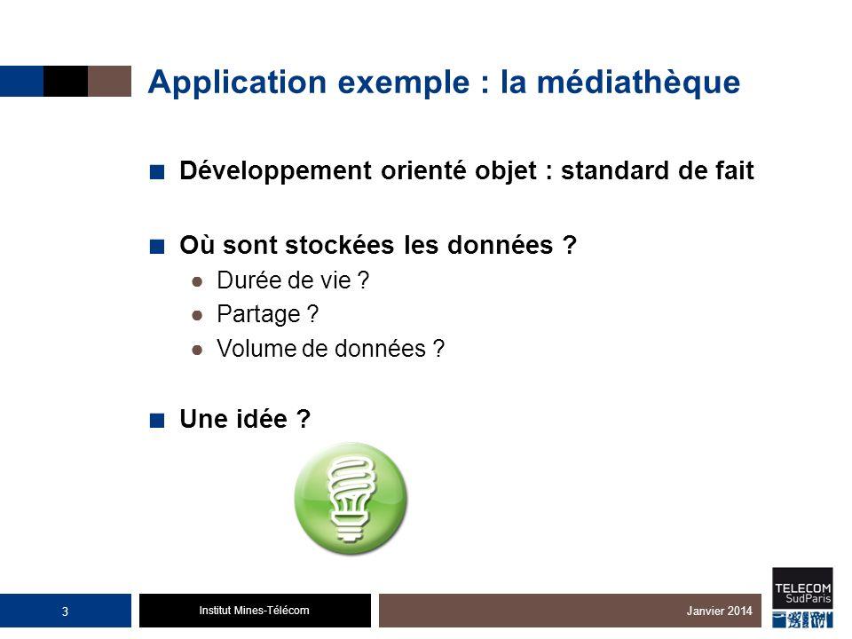 Institut Mines-Télécom Application exemple : la médiathèque Développement orienté objet : standard de fait Où sont stockées les données ? Durée de vie
