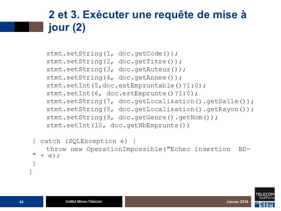 Institut Mines-Télécom 2 et 3. Exécuter une requête de mise à jour (2) stmt.setString(1, doc.getCode()); stmt.setString(2, doc.getTitre()); stmt.setSt