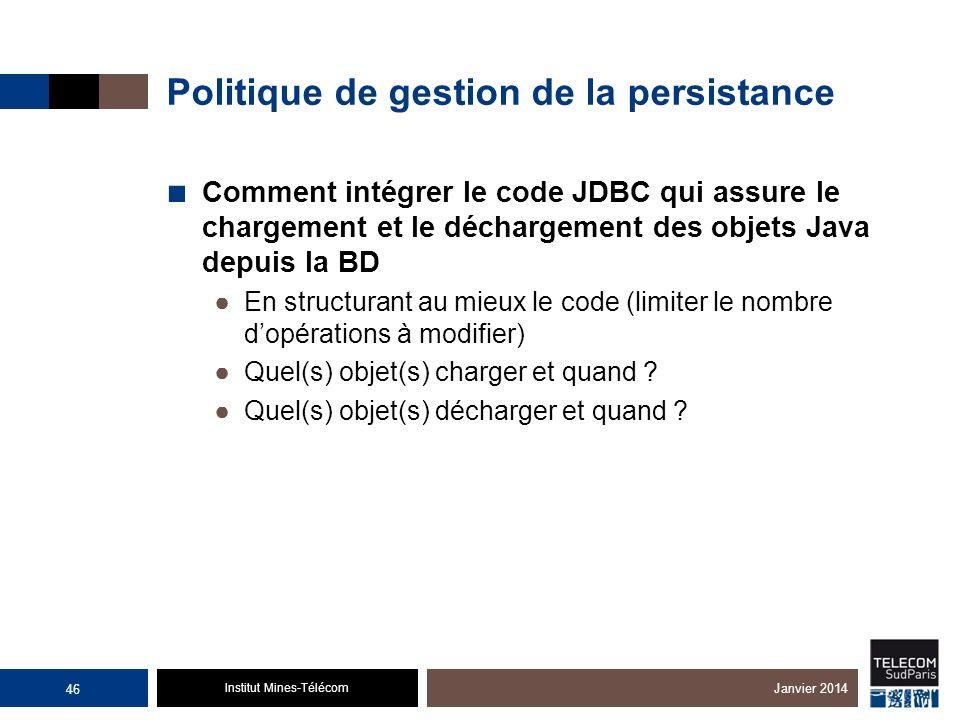 Institut Mines-Télécom Politique de gestion de la persistance Comment intégrer le code JDBC qui assure le chargement et le déchargement des objets Jav