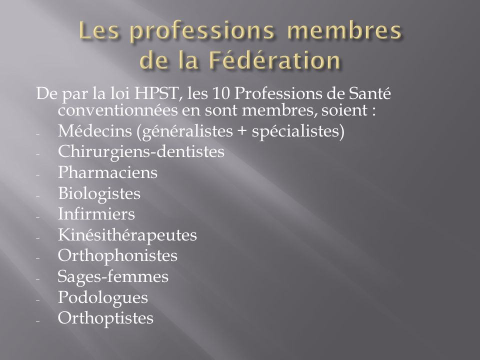 Chacune des 10 URPS a élu 3 de ses membres pour siéger à la Fédération et peut à tout moment faire des modifications (par vote interne) La Fédération des URPS compte donc 30 membres.
