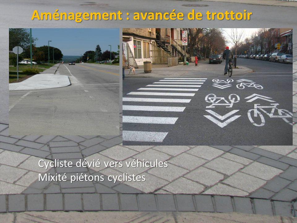 ©2011 Jean-François Bruneau, M. Sc. Aménagement : avancée de trottoir Cycliste dévié vers véhicules Mixité piétons cyclistes
