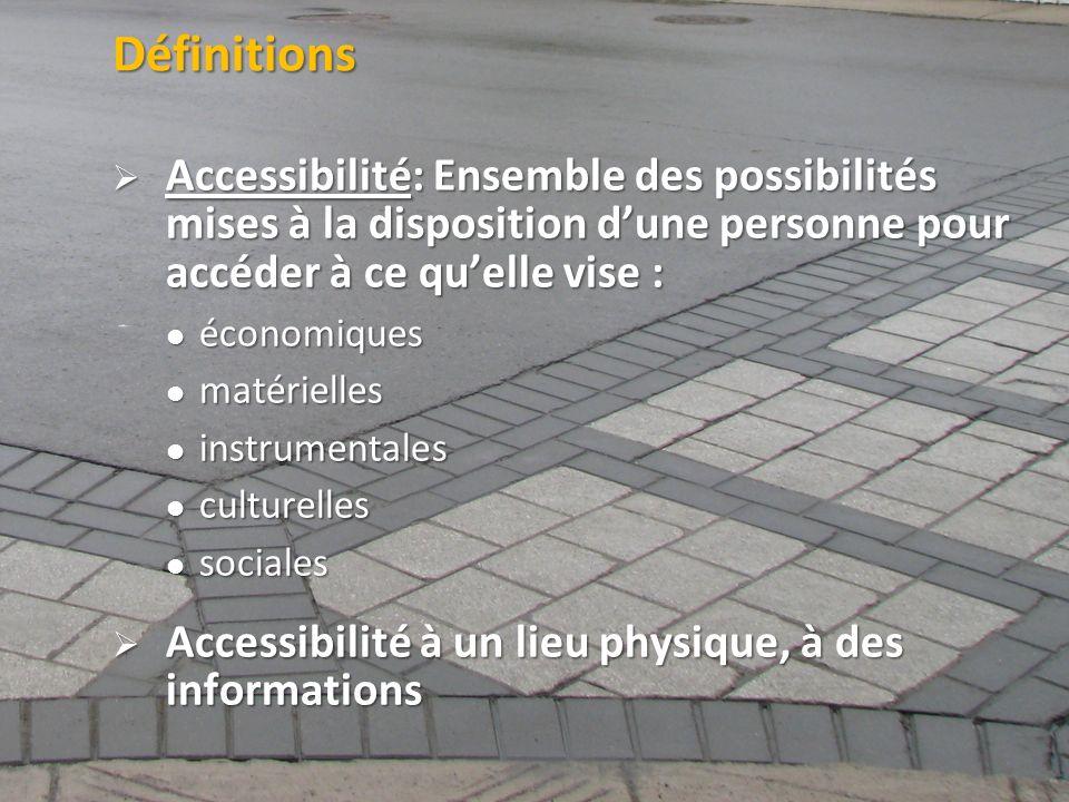 ©2011 Jean-François Bruneau, M. Sc. Définitions Accessibilité: Ensemble des possibilités mises à la disposition dune personne pour accéder à ce quelle