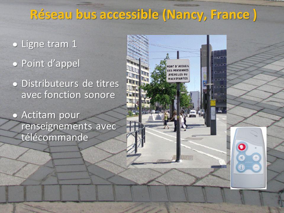 ©2011 Jean-François Bruneau, M. Sc. Réseau bus accessible (Nancy, France ) Ligne tram 1 Ligne tram 1 Point dappel Point dappel Distributeurs de titres