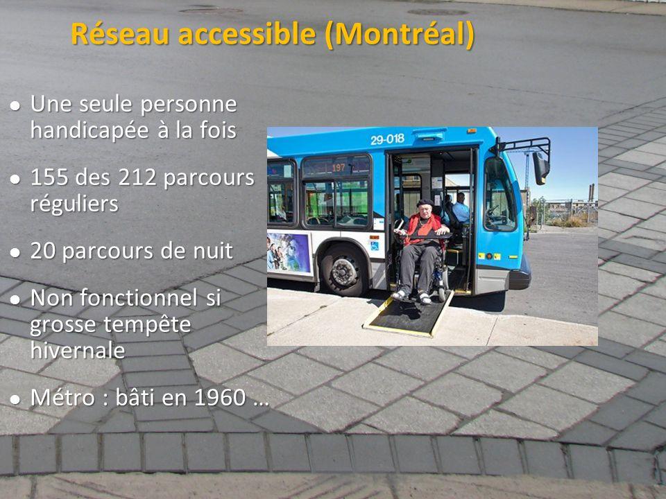 ©2011 Jean-François Bruneau, M. Sc. Réseau accessible (Montréal) Une seule personne handicapée à la fois Une seule personne handicapée à la fois 155 d