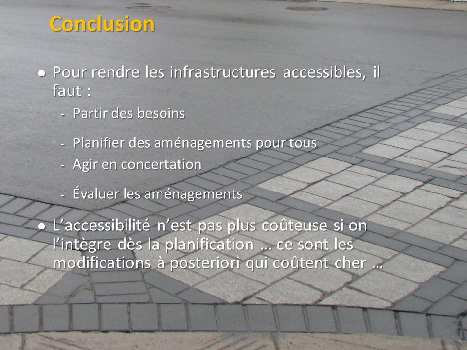 ©2011 Jean-François Bruneau, M. Sc. Conclusion Pour rendre les infrastructures accessibles, il faut : Pour rendre les infrastructures accessibles, il