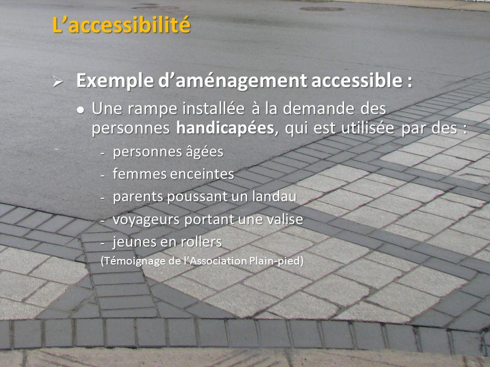 ©2011 Jean-François Bruneau, M. Sc. Laccessibilité Exemple daménagement accessible : Exemple daménagement accessible : Une rampe installée à la demand