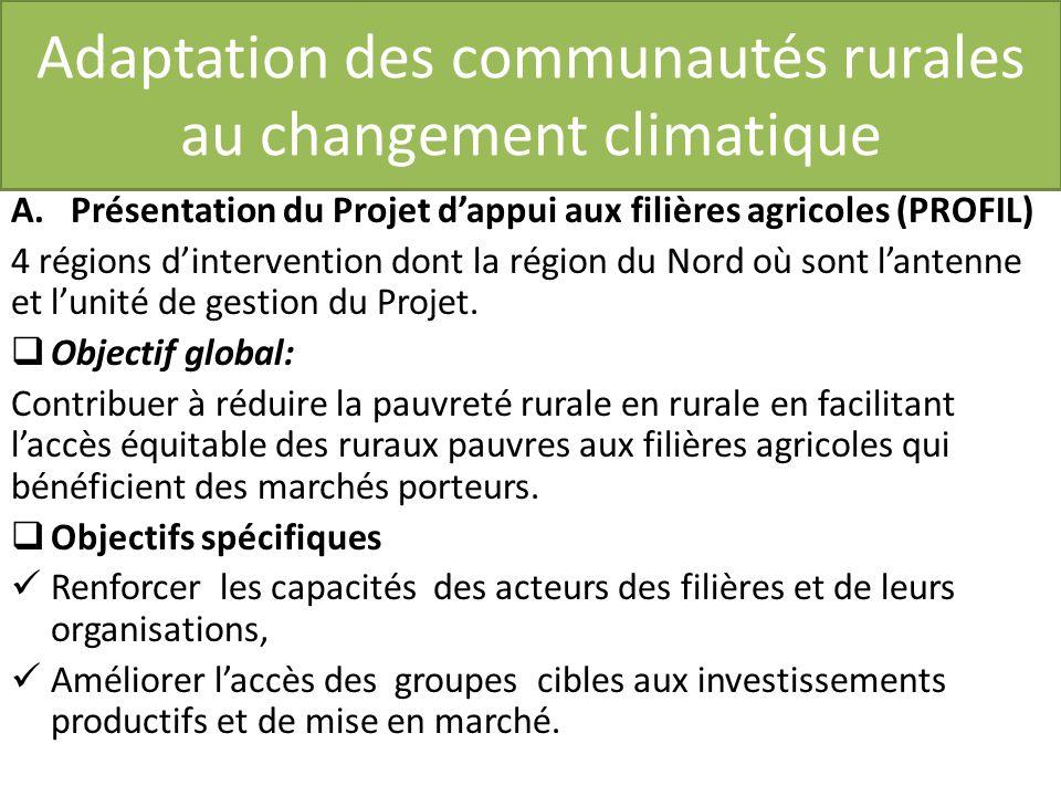 Adaptation des communautés rurales au changement climatique A.Présentation du Projet dappui aux filières agricoles (PROFIL) 4 régions dintervention dont la région du Nord où sont lantenne et lunité de gestion du Projet.