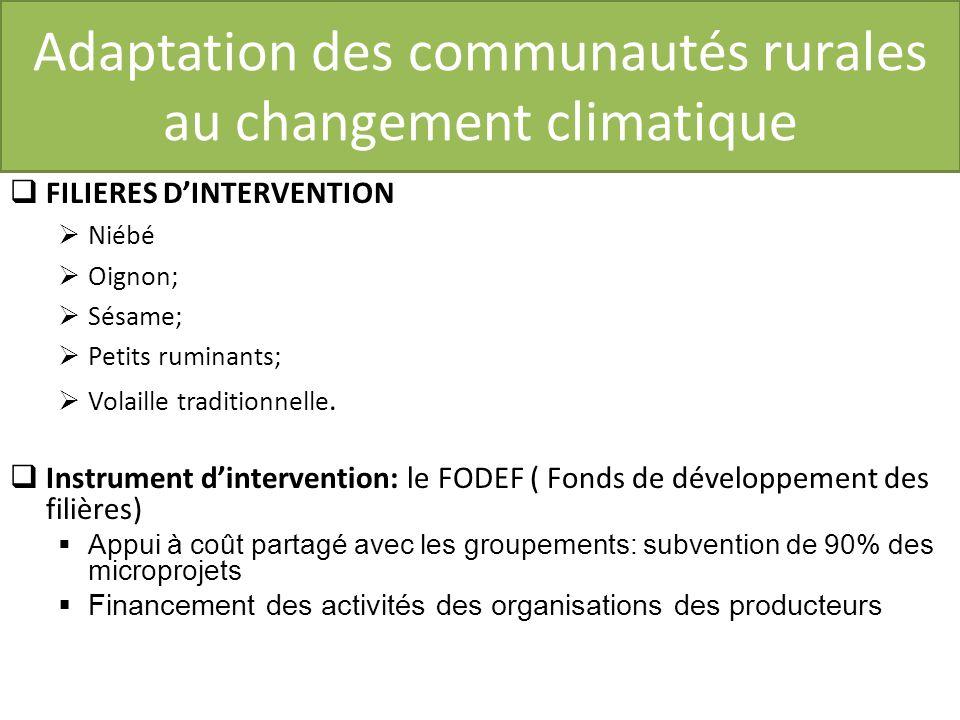 Adaptation des communautés rurales au changement climatique FILIERES DINTERVENTION Niébé Oignon; Sésame; Petits ruminants; Volaille traditionnelle.
