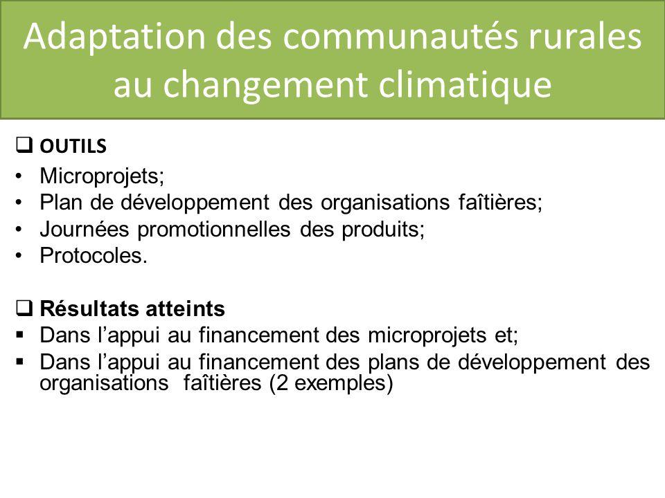 Adaptation des communautés rurales au changement climatique OUTILS Microprojets; Plan de développement des organisations faîtières; Journées promotionnelles des produits; Protocoles.