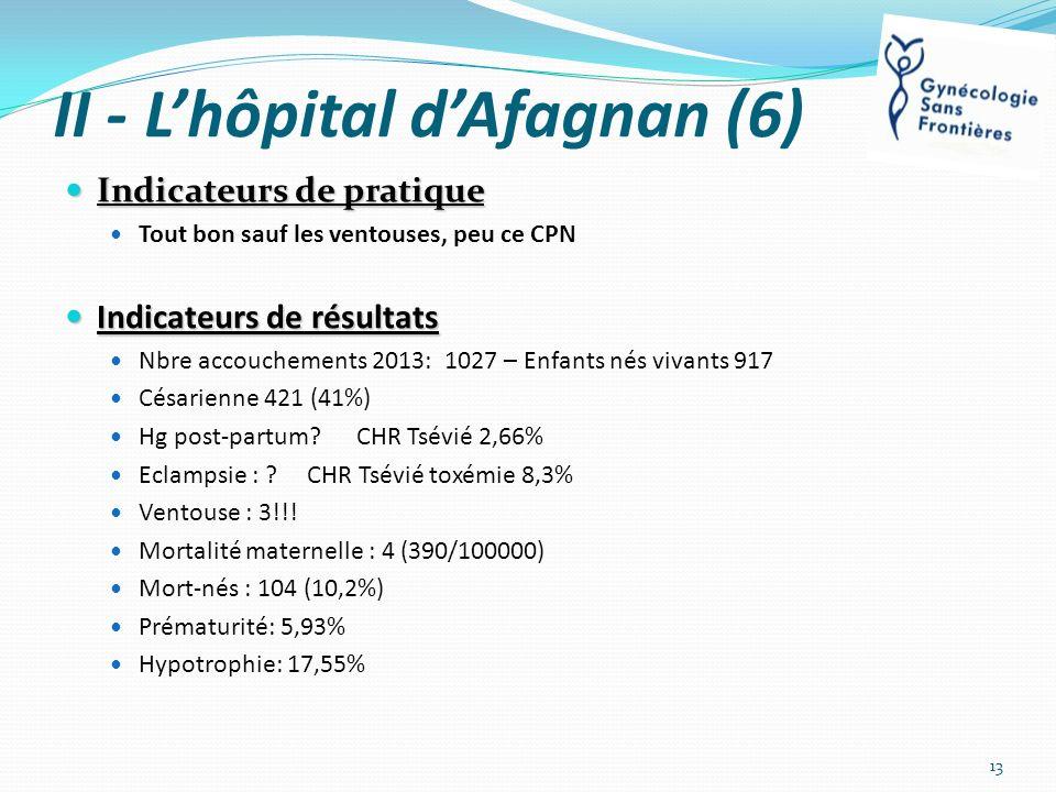 II - Lhôpital dAfagnan (6) Indicateurs de pratique Indicateurs de pratique Tout bon sauf les ventouses, peu ce CPN Indicateurs de résultats Indicateur