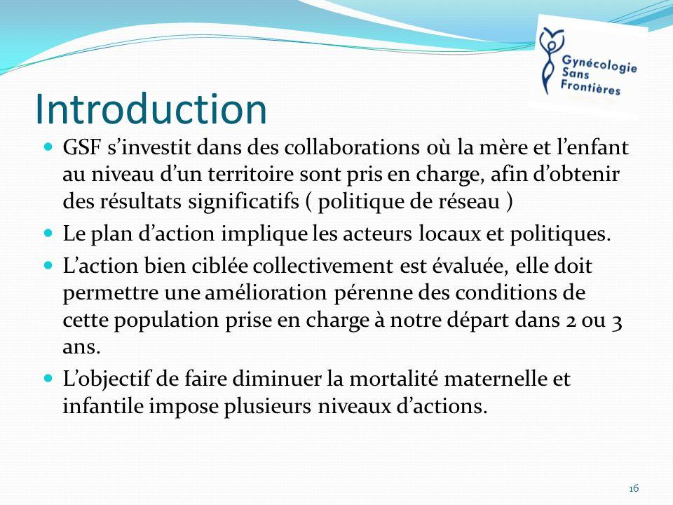 Introduction GSF sinvestit dans des collaborations où la mère et lenfant au niveau dun territoire sont pris en charge, afin dobtenir des résultats sig
