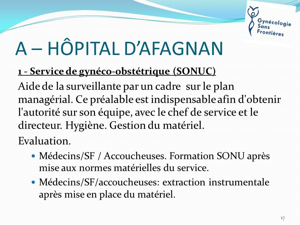 A – HÔPITAL DAFAGNAN 1 - Service de gynéco-obstétrique (SONUC) Aide de la surveillante par un cadre sur le plan managérial. Ce préalable est indispens