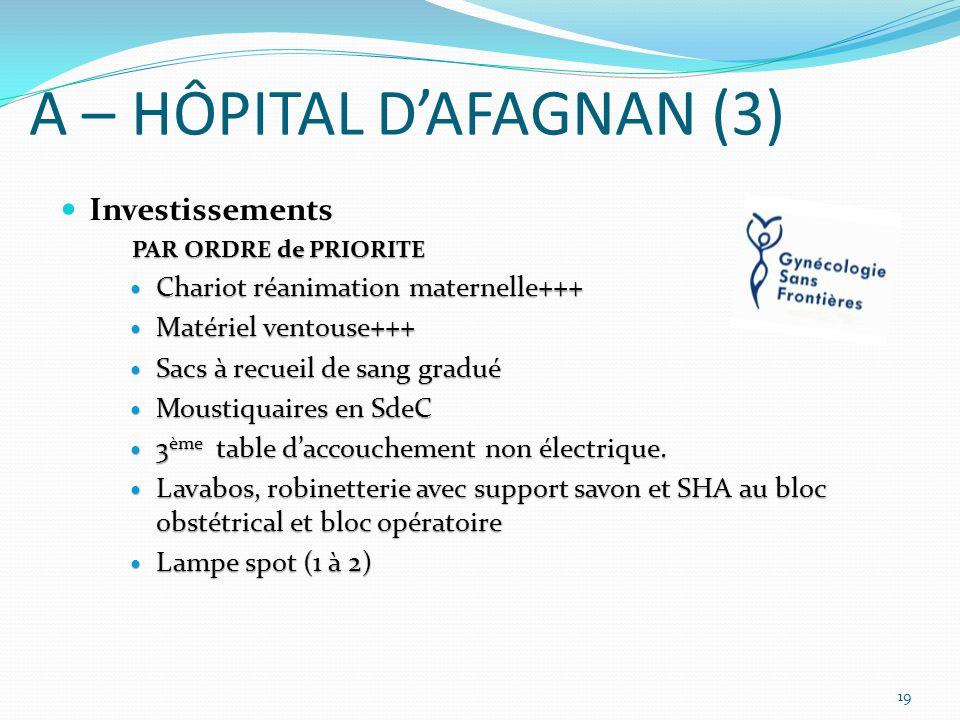 A – HÔPITAL DAFAGNAN (3) Investissements PAR ORDRE de PRIORITE Chariot réanimation maternelle+++ Chariot réanimation maternelle+++ Matériel ventouse++