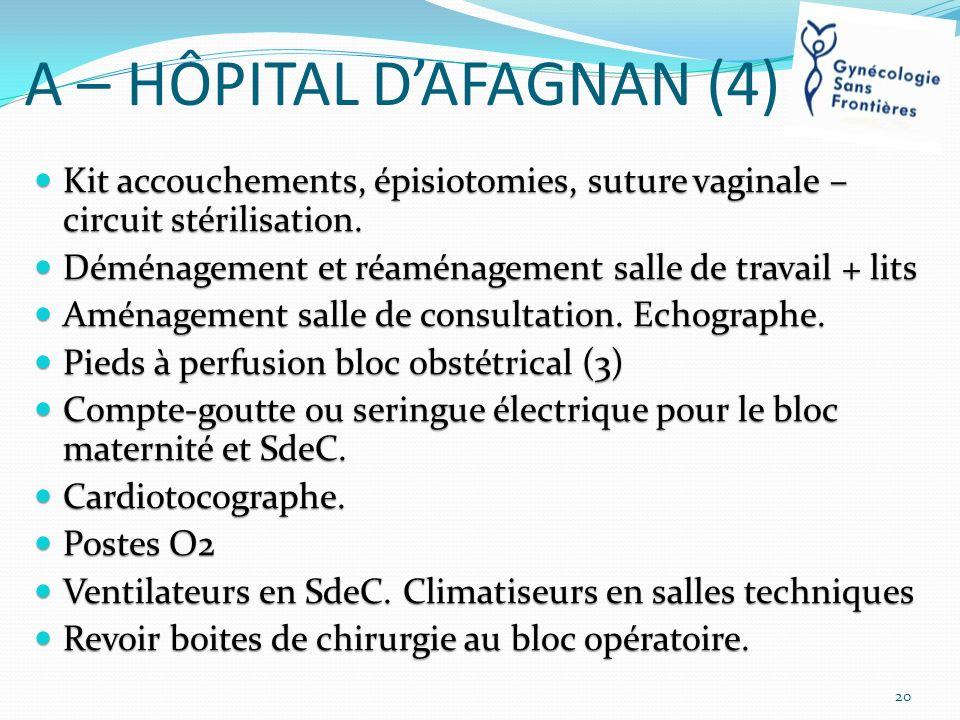 A – HÔPITAL DAFAGNAN (4) Kit accouchements, épisiotomies, suture vaginale – circuit stérilisation. Kit accouchements, épisiotomies, suture vaginale –