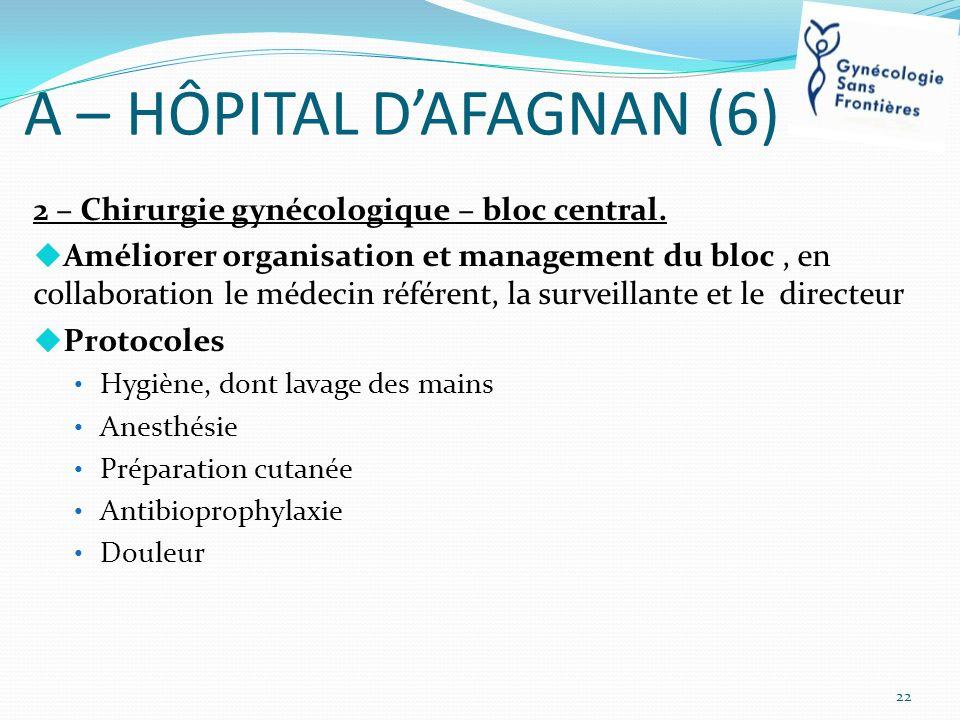 A – HÔPITAL DAFAGNAN (6) 2 – Chirurgie gynécologique – bloc central. Améliorer organisation et management du bloc, en collaboration le médecin référen