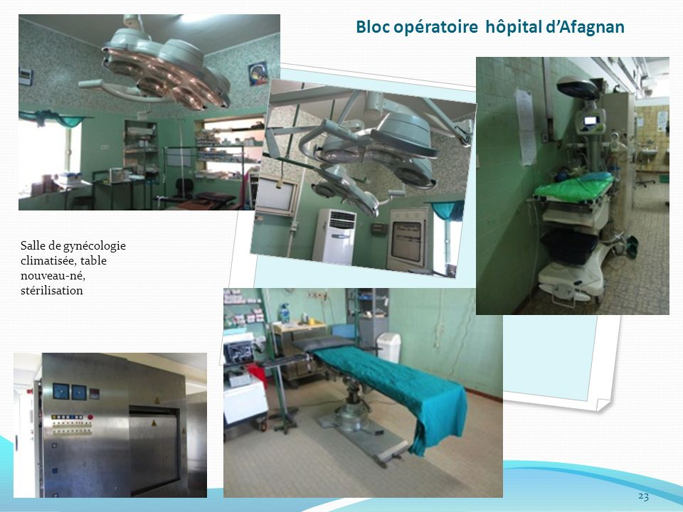 Bloc opératoire hôpital dAfagnan Salle de gynécologie climatisée, table nouveau-né, stérilisation 23