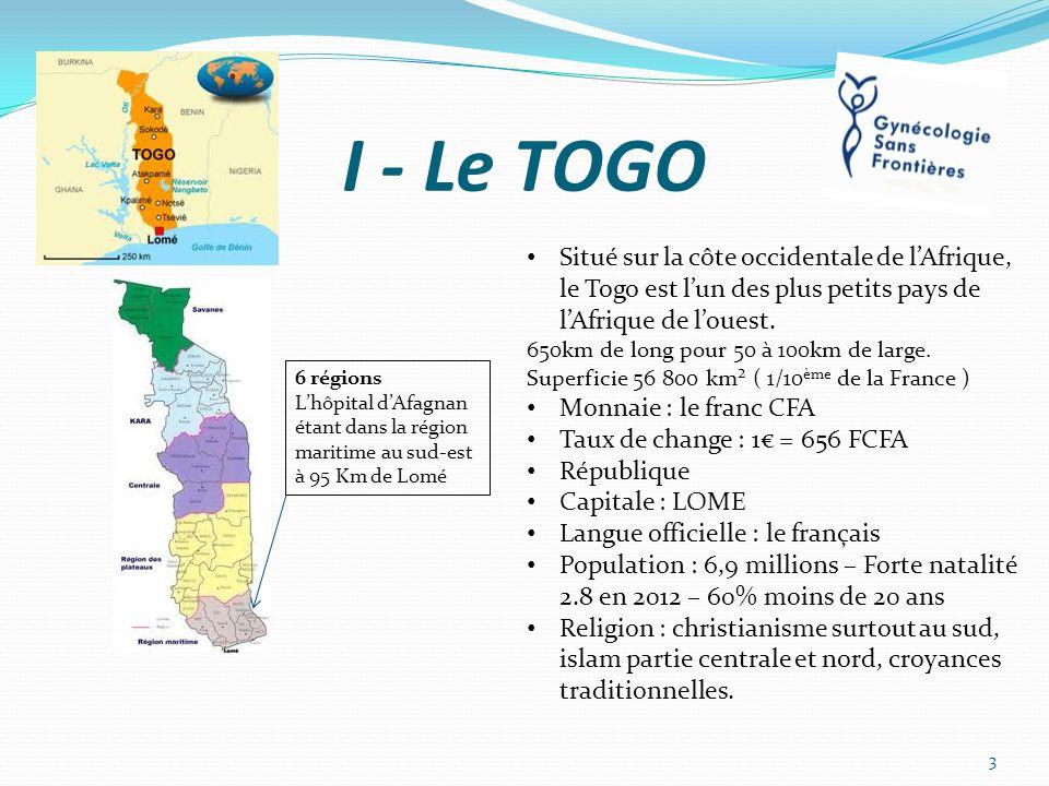 I - Le TOGO 3 6 régions Lhôpital dAfagnan étant dans la région maritime au sud-est à 95 Km de Lomé Situé sur la côte occidentale de lAfrique, le Togo