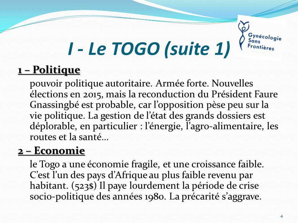 I - Le TOGO (suite 1) 1 – Politique pouvoir politique autoritaire. Armée forte. Nouvelles élections en 2015, mais la reconduction du Président Faure G
