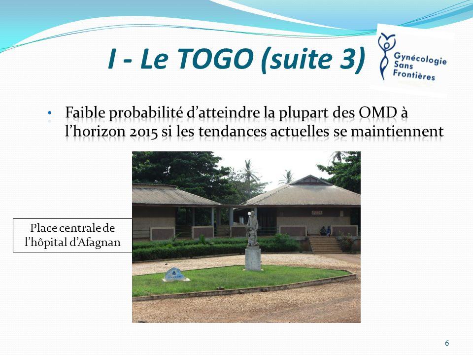 I - Le TOGO (suite 4) 7 - Faculté de médecine à Lomé 25 médecins/an 8 – ONG Très peu 7 Une femme et sa fille devant lentrée de la maternité (Afagnan)