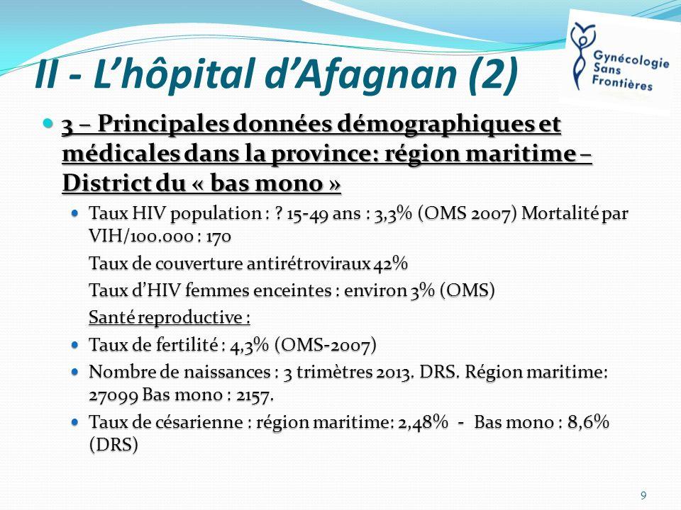 II - Lhôpital dAfagnan (2) 3 – Principales données démographiques et médicales dans la province: région maritime – District du « bas mono » 3 – Princi