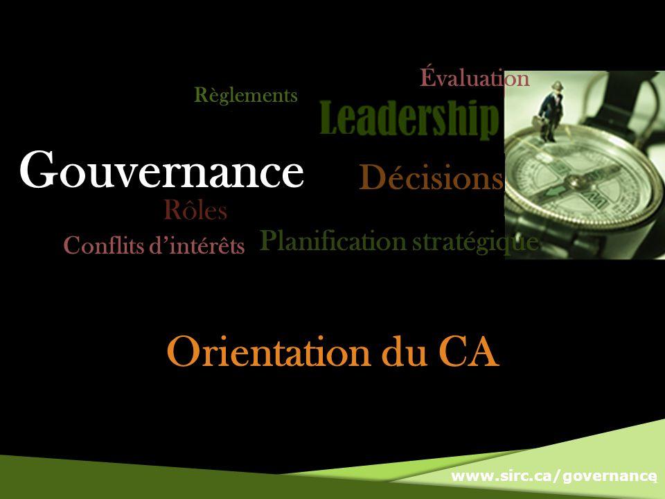 www.sirc.ca/governance Orientation du CA 1 Gouvernance Règlements Conflits dintérêts Évaluation Rôles Planification stratégique Décisions