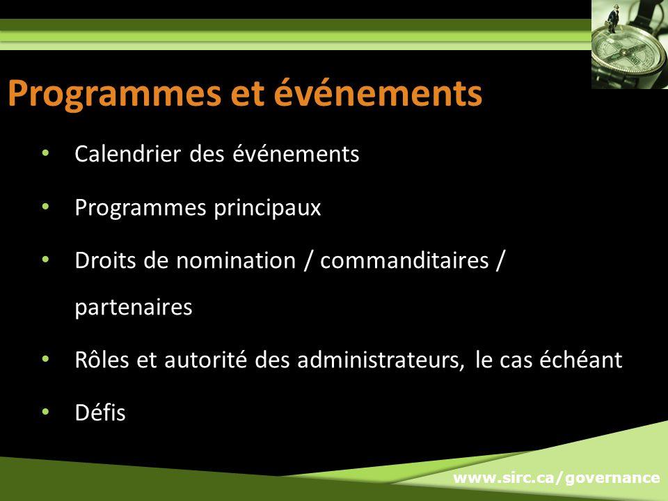 www.sirc.ca/governance Programmes et événements Calendrier des événements Programmes principaux Droits de nomination / commanditaires / partenaires Rôles et autorité des administrateurs, le cas échéant Défis
