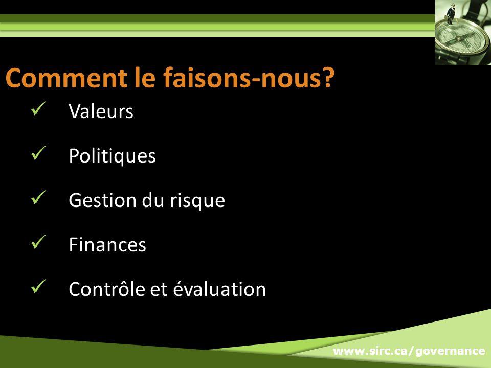 www.sirc.ca/governance Comment le faisons-nous.