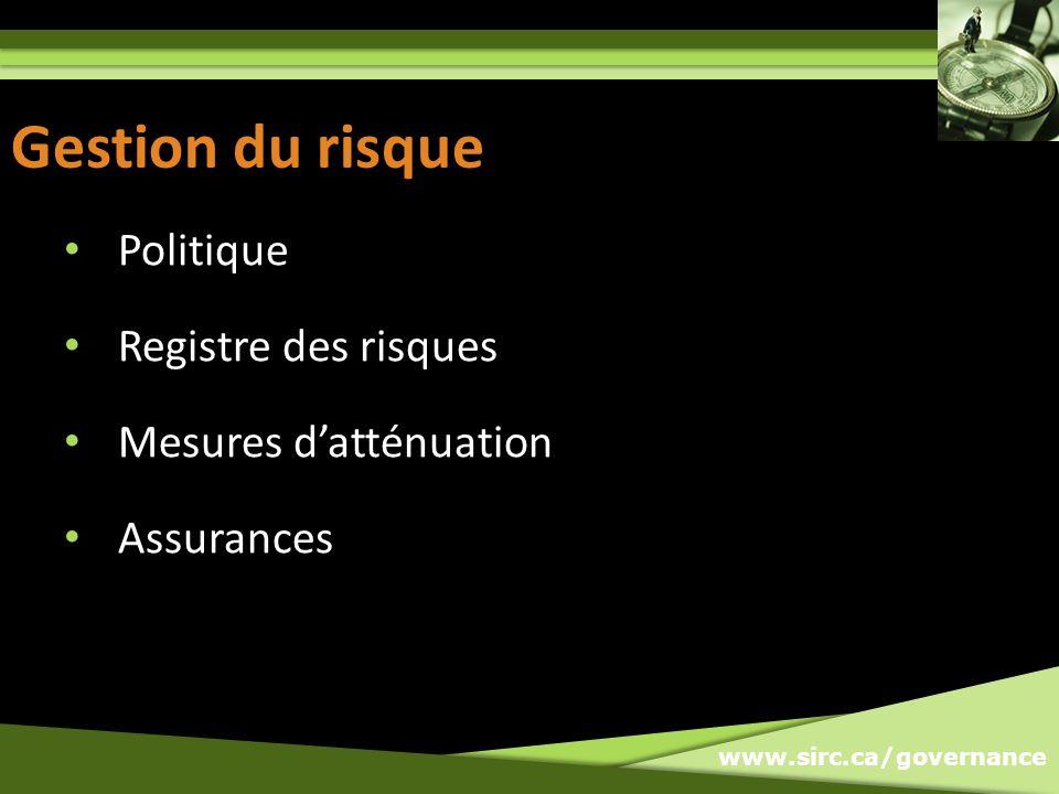 www.sirc.ca/governance Gestion du risque Politique Registre des risques Mesures datténuation Assurances
