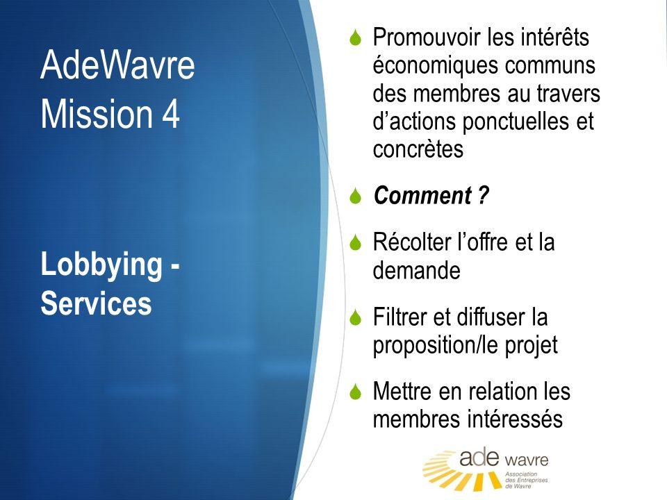 AdeWavre Mission 4 Promouvoir les intérêts économiques communs des membres au travers dactions ponctuelles et concrètes Comment ? Récolter loffre et l