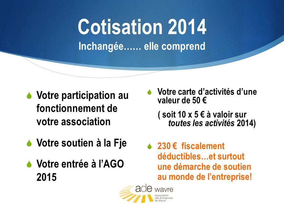 Cotisation 2014 Inchangée…… elle comprend Votre carte dactivités dune valeur de 50 ( soit 10 x 5 à valoir sur toutes les activités 2014) 230 fiscaleme